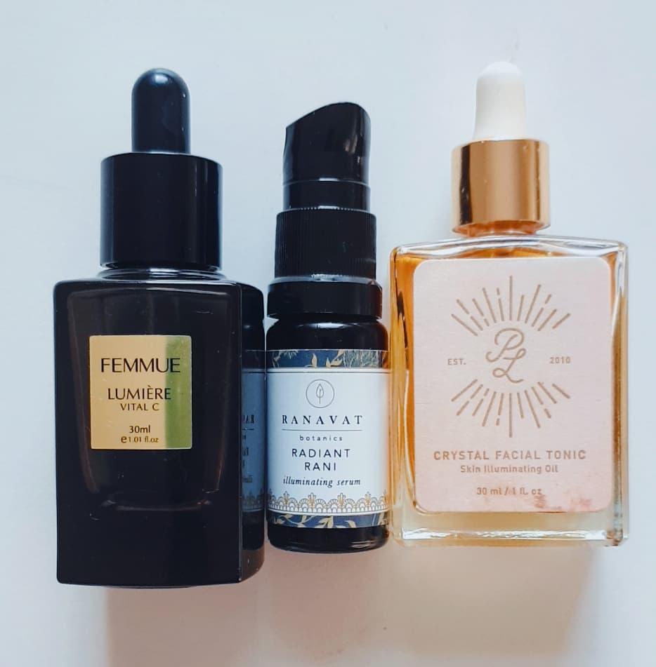 Femmue Lumiere Vital C, Ranavat Botanics Radiant Rani Serum and Crystal Facial Tonic