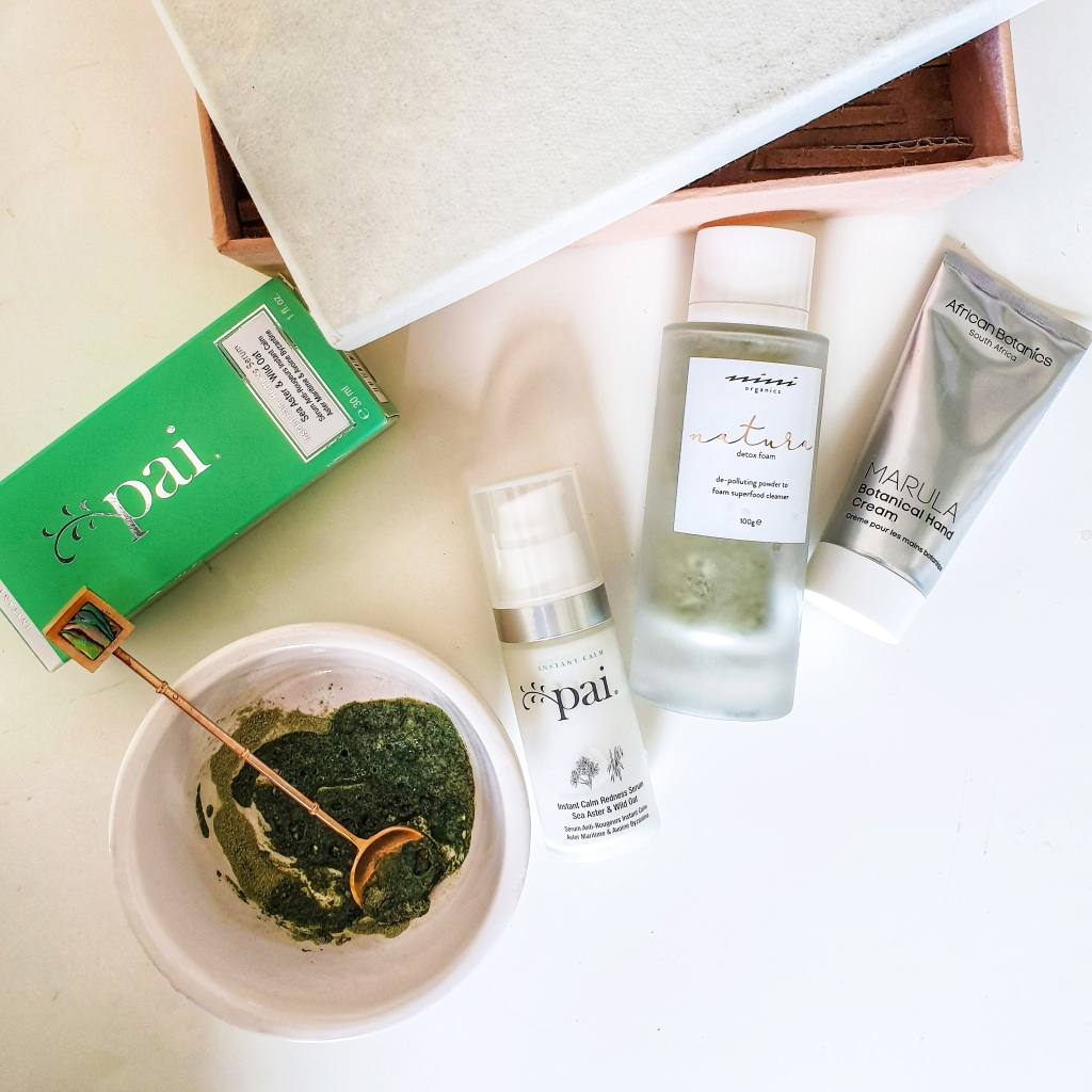 Boxwalla beauty box feautring Pai Sea Aster and Wild Oat, Nini Organics Natura Detox Foam and African Botanics Marula Botanical hand cream